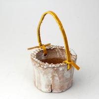 陶器製(2号ポット相当)多肉植物の欲しがる植木鉢 PR-+革ベルト-2304