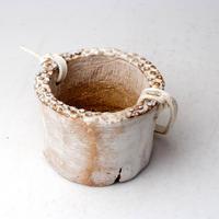 陶器製(2号ポット相当)多肉植物の欲しがる植木鉢 PR-+革ベルト- 3063