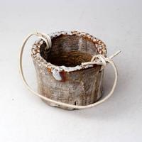 陶器製(2号ポット相当)多肉植物の欲しがる植木鉢 PR-+革ベルト- 3058