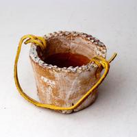 陶器製(2号ポット相当)多肉植物の欲しがる植木鉢 PR-+革ベルト- 3060