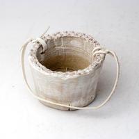 陶器製(2号ポット相当)多肉植物の欲しがる植木鉢 PR-+革ベルト- 3065
