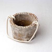 陶器製(2号ポット相当)多肉植物の欲しがる植木鉢 PR-+革ベルト- 3062