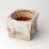 陶器製(2号ポット相当)多肉植物の欲しがる植木鉢 PSc角-2020ピンク
