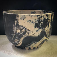 W name Marble plastic Pot(Limited color) ブラック