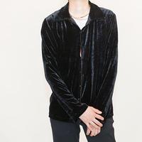 Black Velour Open-Collared Shirt