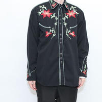 Black Embroidery Western Shirt