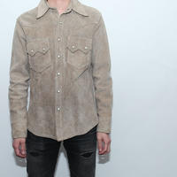 Single Leather Shirt Jacket