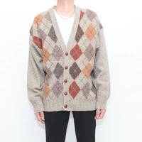 Argyle Pattern Wool Knit Cardigan MADE IN IRELAND
