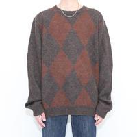 Argyle Pattern Knit Sweater Alpaca Mix