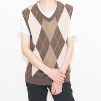 Argyle Pattern Knit Vest