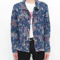 Flower Pattern Denim Trucker Jacket