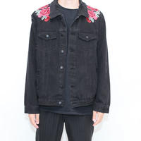 Embroidery Black Denim Jacket
