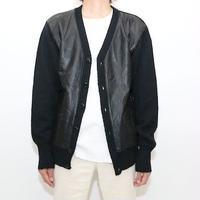 Leather×Knit  Cardigan Black