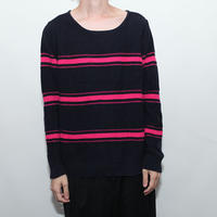 Boat Neck Cotton Knit Sweater
