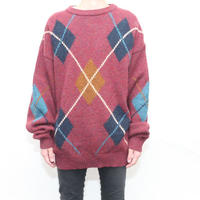 Argyle Pattern Knit Sweater