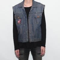 Vintage Denim Vest With Patch