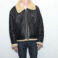 Vintage B-3 Mouton Leather Jacket Black