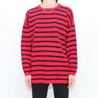 Red × Black Border Cotton Knit Sweater