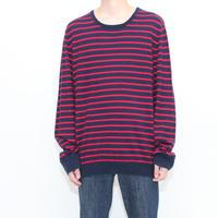 Border Cotton Kint Sweater