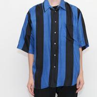 Blue × Black Stripe Silk S/S Shirt