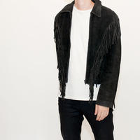 Black Suede Fringe Leather Jacket