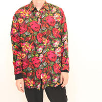Silk Flower Pattern L/S Shirt