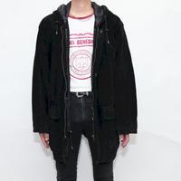Black Suede Hooded Jacket