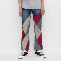 Patchwork Boots-Cut Denim Pants