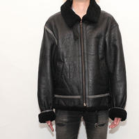 B-3 Mouton Leather Jacket Black