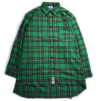 "【SLEEPING TABLET】ビックシャツ ""17 [ FRAYED HEM LOOSE SHIRTS ]"" / GREEN"