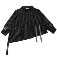"""【SILLENT FROM ME】ビックシャツ """"SHADOW -Deformed Pullover Shirts-"""" / STRIPE"""