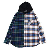 "【ROLLING CRADLE】ビックシャツ ""2TONE HOODED SHIRT"" / NAVY-WHITE"