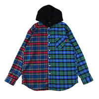 "【ROLLING CRADLE】ビックシャツ ""2TONE HOODED SHIRT"" / BLUE-GREEN"