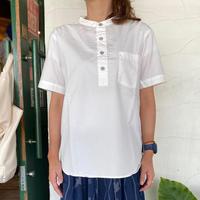 "【RINEN】 ""80/2ブロード半袖プルオーバースタンドシャツ"""