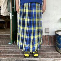 """【natural laundry】 """"リネンチェックパネルラップスカート"""""""