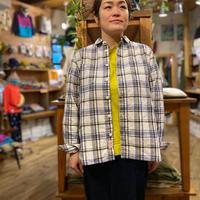 【naturallaundry】マドラスワーク長袖シャツ