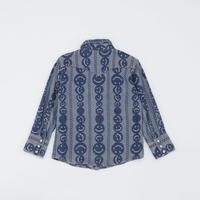 シャツ にこちゃん柄 ブルー 100~110 アウトレット