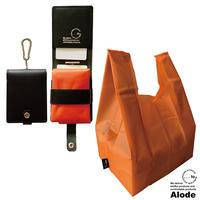 【...to・Alode】Black(ブラック)xOrange(オレンジ) 本革ケース付きエコバッグ