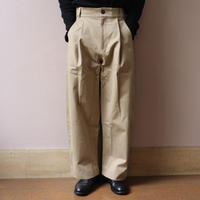 STUDIO NICHOLSON スタジオニコルソン BEN PEACHED COTTON TWILL VOLUME PLEAT PANTS TAN【SNM-078】(N)