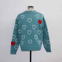 ChahChah チャーチャー HEARTFULL HAND EMBROIDERY KNIT GREEN【CC19FW-K-01】(N)