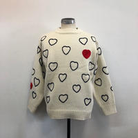 ChahChah チャーチャー HEARTFULL HAND EMBROIDERY KNIT WHITE【CC18FW-K-01】(N)