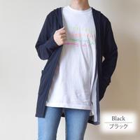 裏毛配色ロングフーディガン  0401211-41(ブラック)