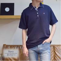 カットサッカー素材 1ポイント刺繍入り ポロシャツ 0403250-38(ネイビー)