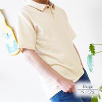 カットサッカー インディゴ風 ポロシャツ 0403256-12(ベージュ)