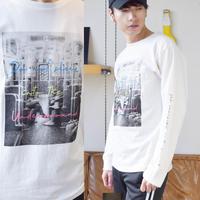 天竺 プリント 長袖Tシャツ 0402301-20(ホワイト)