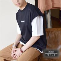 デニム切り替え ベスト&半袖Tシャツ アンサンブル 0403510-41(ブラック)