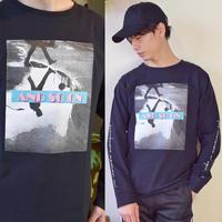 天竺 プリント 長袖Tシャツ 0402301-41(ブラック)