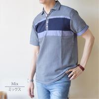カットサッカー 胸切替 4ボタン スキッパーポロシャツ 0403249-01 (ミックス)
