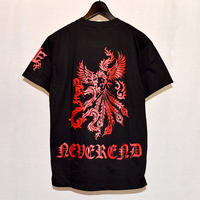 NEVEREND 和柄 トライバル ハンドプリント Tシャツ 8683-100-41A