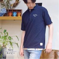 スラブ 鹿の子 チェーン刺繍入り ワーク ポロシャツ 0403245-38(ネイビー)